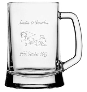 Engraved Beer Mug Glasses 500ml Personalised Glasses Engrave Works