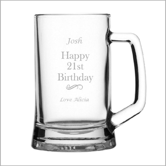 Birthday Engraved Beer Mug Glass Engrave Works Modern without Gift Box