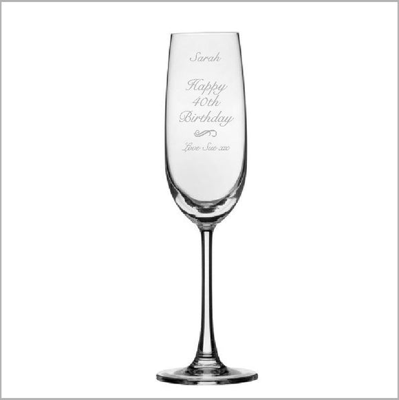 Birthday Engraved Champagne Glass Engrave Works Fancy
