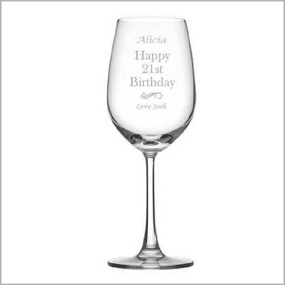 Birthday Engraved Wine Glass Engrave Works Modern without Gift Box