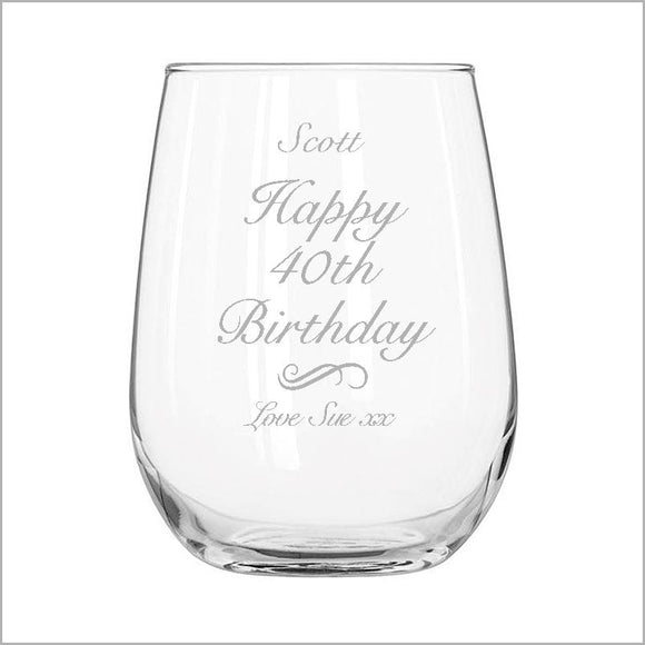 Birthday Engraved Stemless Wine Glass Engrave Works Fancy