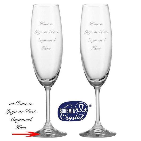 Bohemia Crystal Glassware - Pair Of Bohemia Crystal Flutes With Engraving