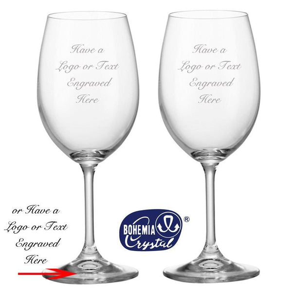 Bohemia Crystal Glassware - Pair Of Bohemia Crystal Wine Goblets With Engraving