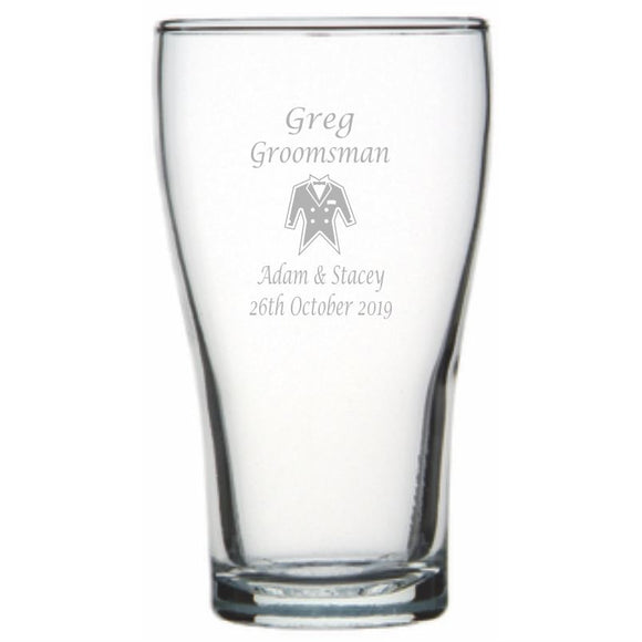 Engraved Conical Beer Glasses 425ml Personalised Glasses Engrave Works