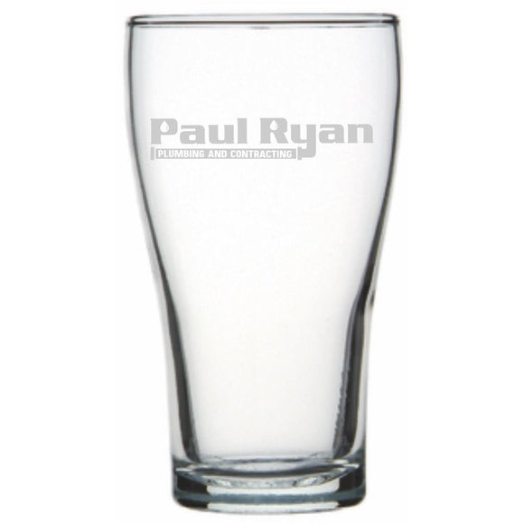 Corporate - Conical Beer Glass Engraved Personalised Glasses Engrave Works
