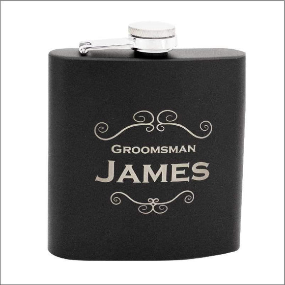 Personalised Black Stainless Steel Flask 60z