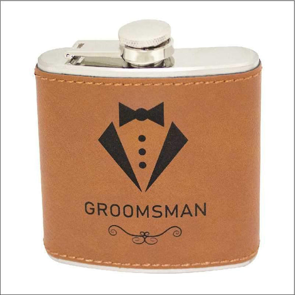 Personalised Leather Stainless Steel Flask 60z