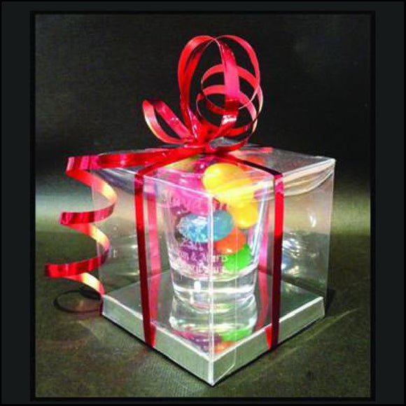 Clear Gift Box with Silver Bases Personalised Glasses Engrave Works