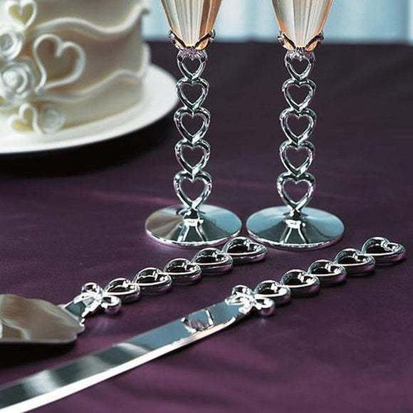 Personalised Gifts - Silver Plated Stacked Hearts Cake Serving Set
