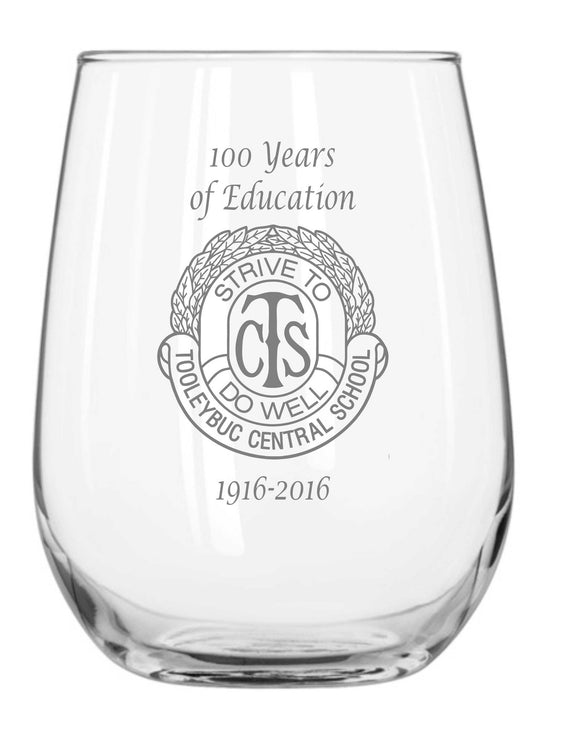 Personalised Glasses - Corporate - Stemless Wine Glass Engraved