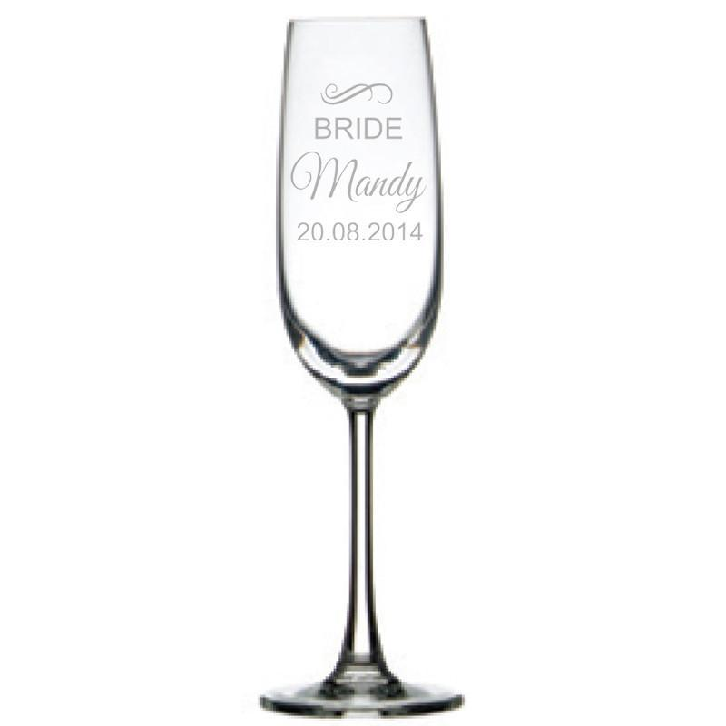 Engraved Champagne Glass - Bridal Party , Set of 6