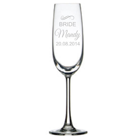 Personalised Glasses - Engraved Champagne Glass - Bridal Party , Set Of 6