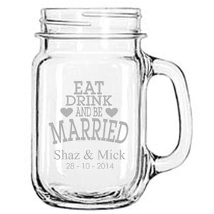 Personalised Glasses - Engraved Mason Drinking Jar Mugs
