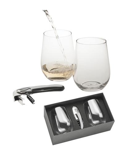 Personalised Glasses - Engraved Stemless Glass Gift Set Of 2 With Bottle Opener