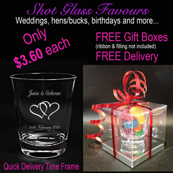 Personalised Glasses - Package Deal - 100 X Engraved Shot Glasses With Gift Boxes