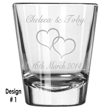 Peace Sign Shot Glass Personalized Engraving with name under design
