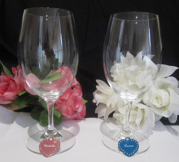 Personalised Glasses - Swarovski Crystal Wine Glass Charms Engraved