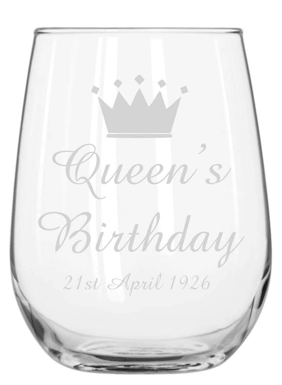 Birthday Engraved Stemless Wine Glass Personalised Glasses Engrave Works