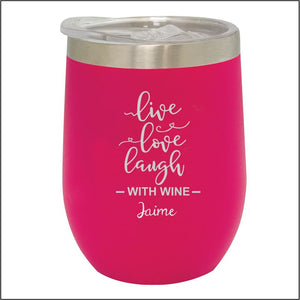 Personalised Stainless Steel Stemless Wine Tumbler Engrave Works Pink