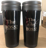 The Boss and Real Boss Travel Mugs Engrave Works Set of 2