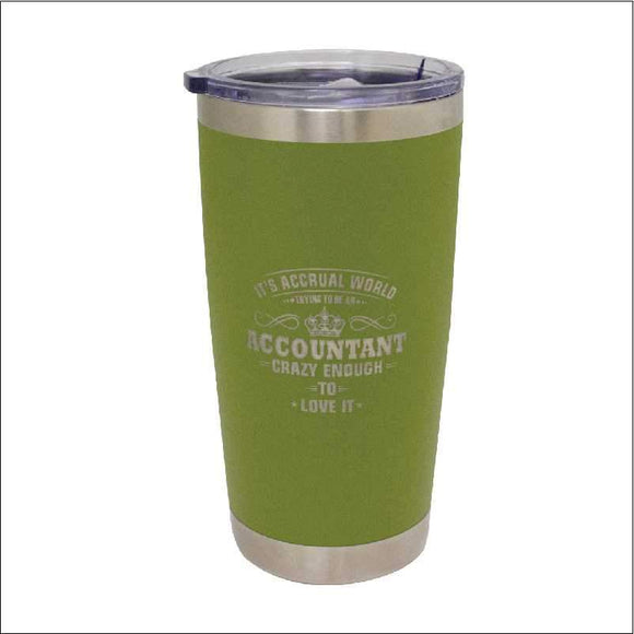 Personalised Travel Mug Tumbler Olive 590ml Engrave Works Olive
