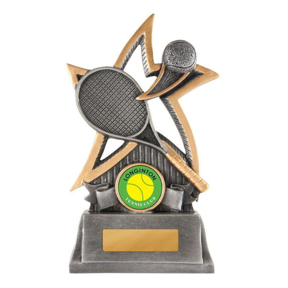 Trophies And Awards - SILVER STAR SERIES Tennis Trophies - Avail In 3 Sizes