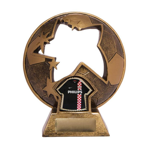 Trophies And Awards - STAR CUT OUT WITH T-SHIRT Football - Soccer Trophy 135mm [737/9A]