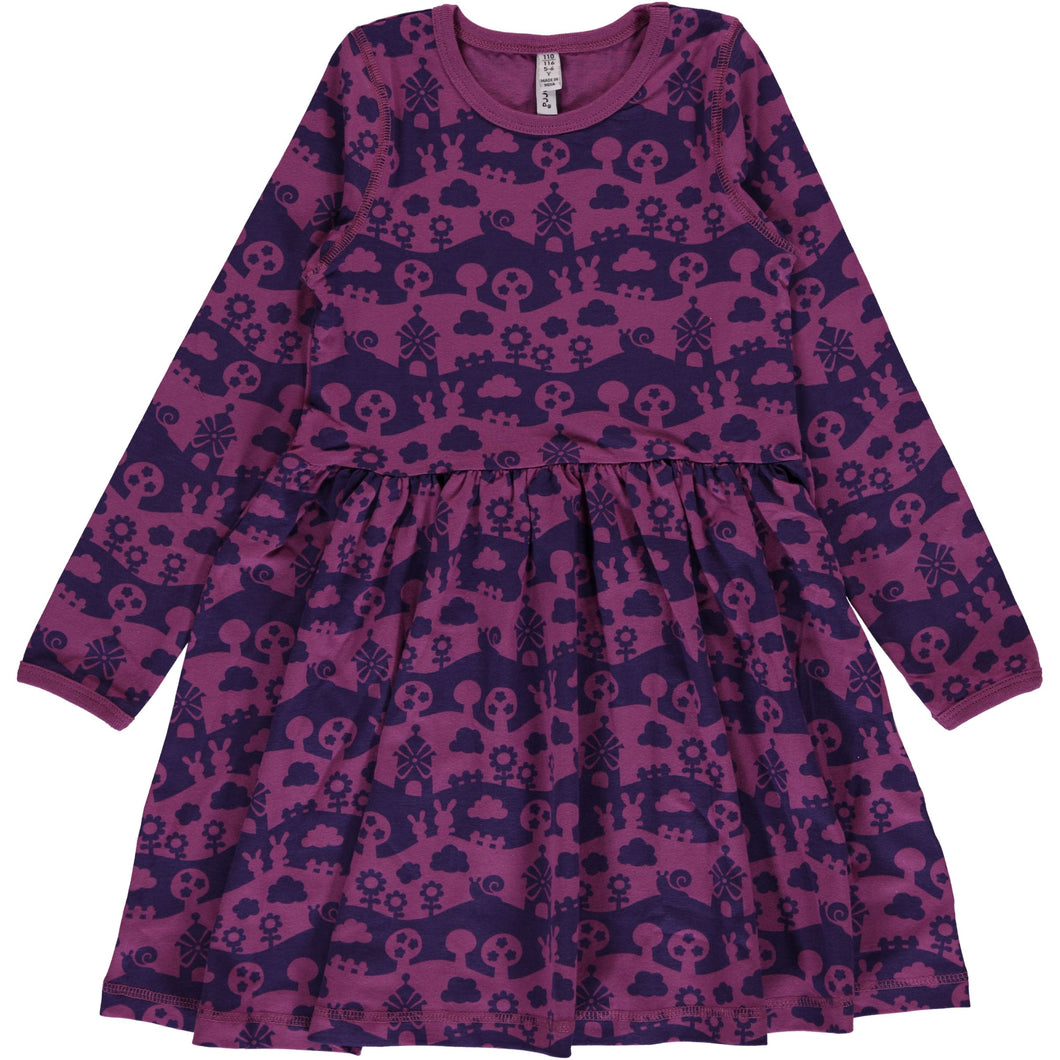 Purple Landscape Spin Dress
