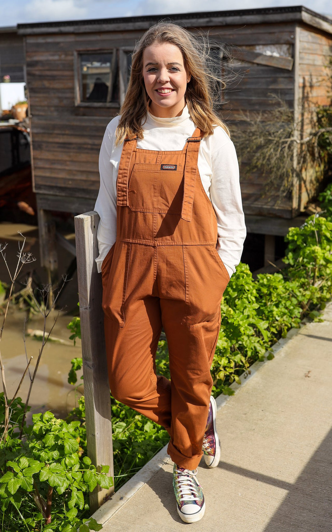 Cookie Brown Baggy Dungarees