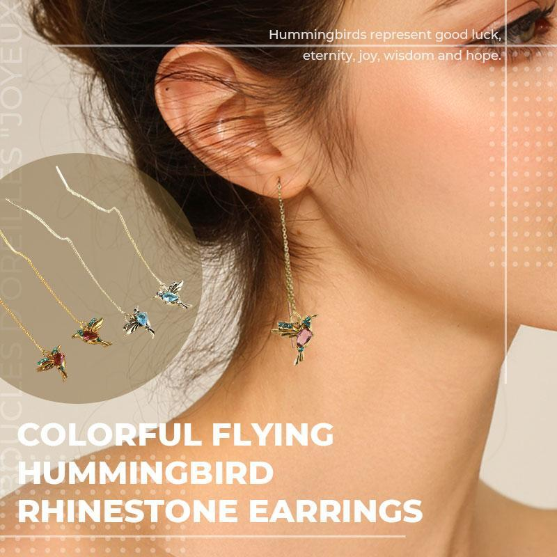 🔥Mother's Day Promotion-50% OFF🔥Colorful Flying Hummingbird Rhinestone Earrings