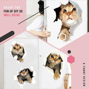 Removable 3D Cartoon Animal Cats Wall Stickers/2PCS