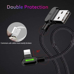 90 Degree LED Sync Charge Cable