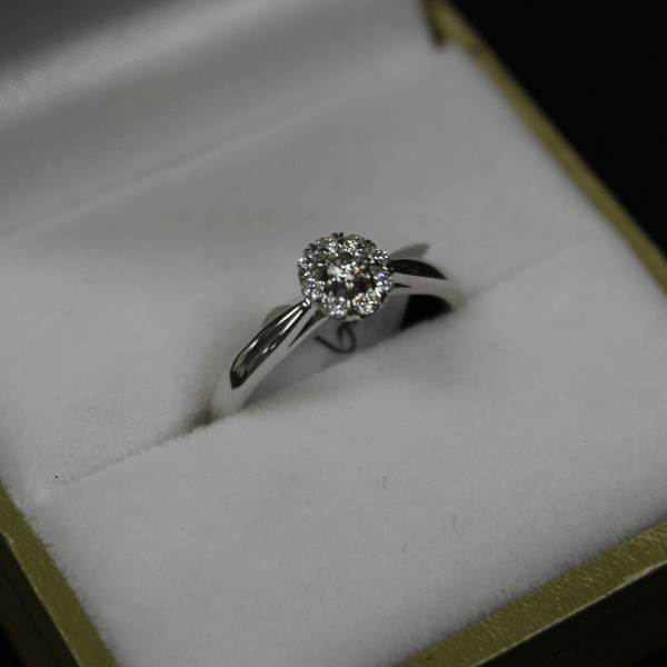 10kt White Gold Diamond Halo Engagement Ring - Sugold Jewellers & Giftware