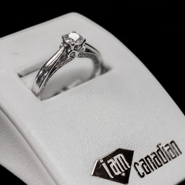 14kt White Gold Solitaire with Pave Set Diamonds | Center diamond .40 SI1 , Side Diamonds .34dtw - Sugold Jewellers & Giftware