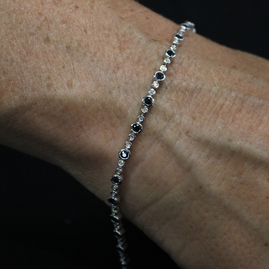 Diamond & Sapphires Tennis Bracelet  | White Gold 10k - Sugold Jewellers & Giftware