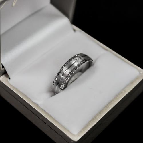 Mens/Ladies white gold diamond cut wedding band Ring | White Gold - Sugold Jewellers & Giftware