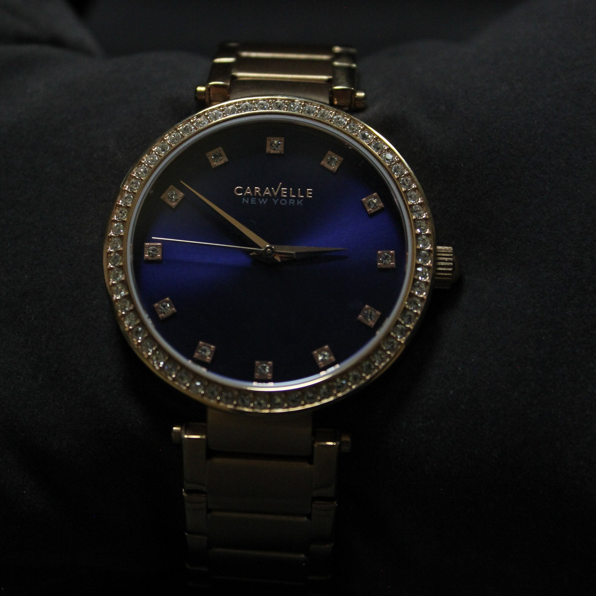 Deep Blue & Rosé Crystal Bracelet Watch | Caravelle New York