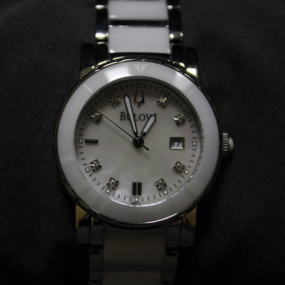 Bulova White Ceramic & Steel Diamond Date Watch | Bulova