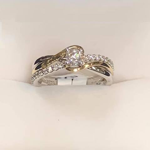 Two Tone Engagement Ring | White Gold & Yellow Gold - Sugold Jewellers & Giftware