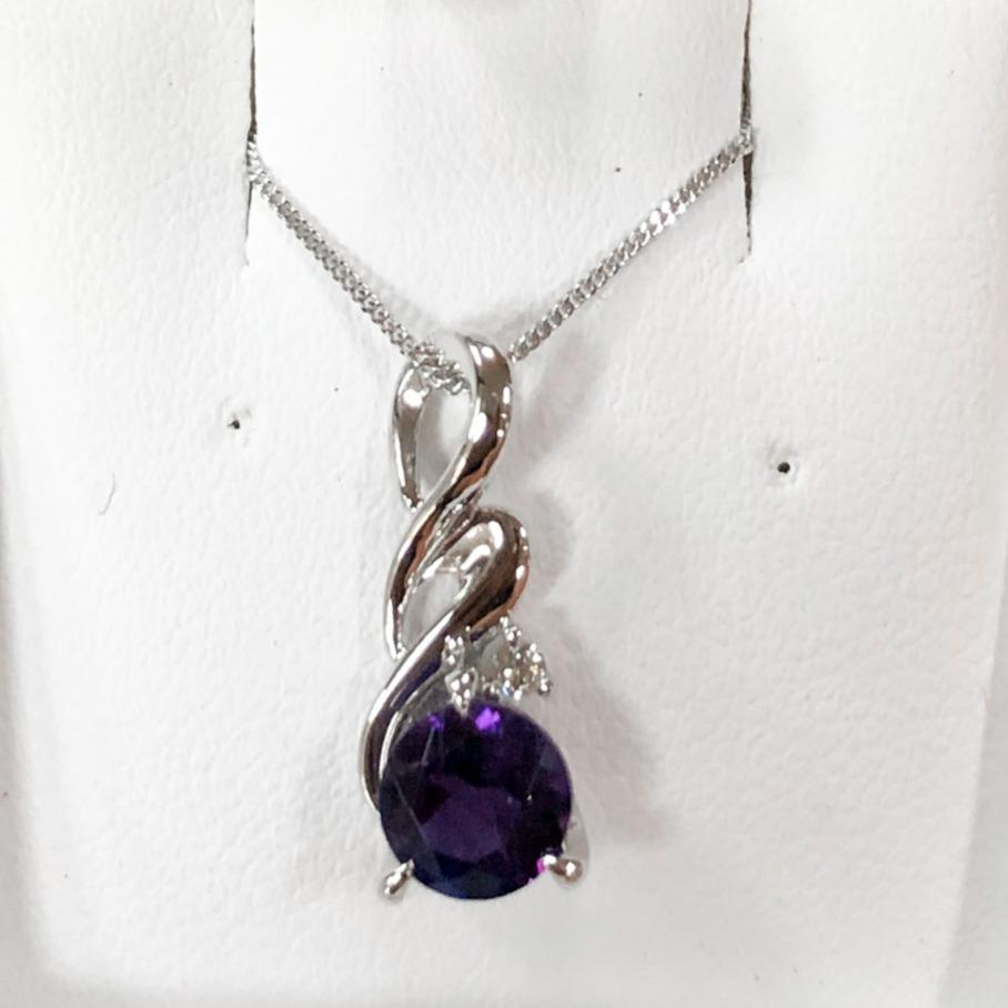 Amethyst and diamond Swirl Tear Pendant | Silver Chain - Sugold Jewellers & Giftware