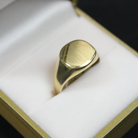 Brushed Gold Signet Ring Mens Engraved Line work - Sugold Jewellers & Giftware