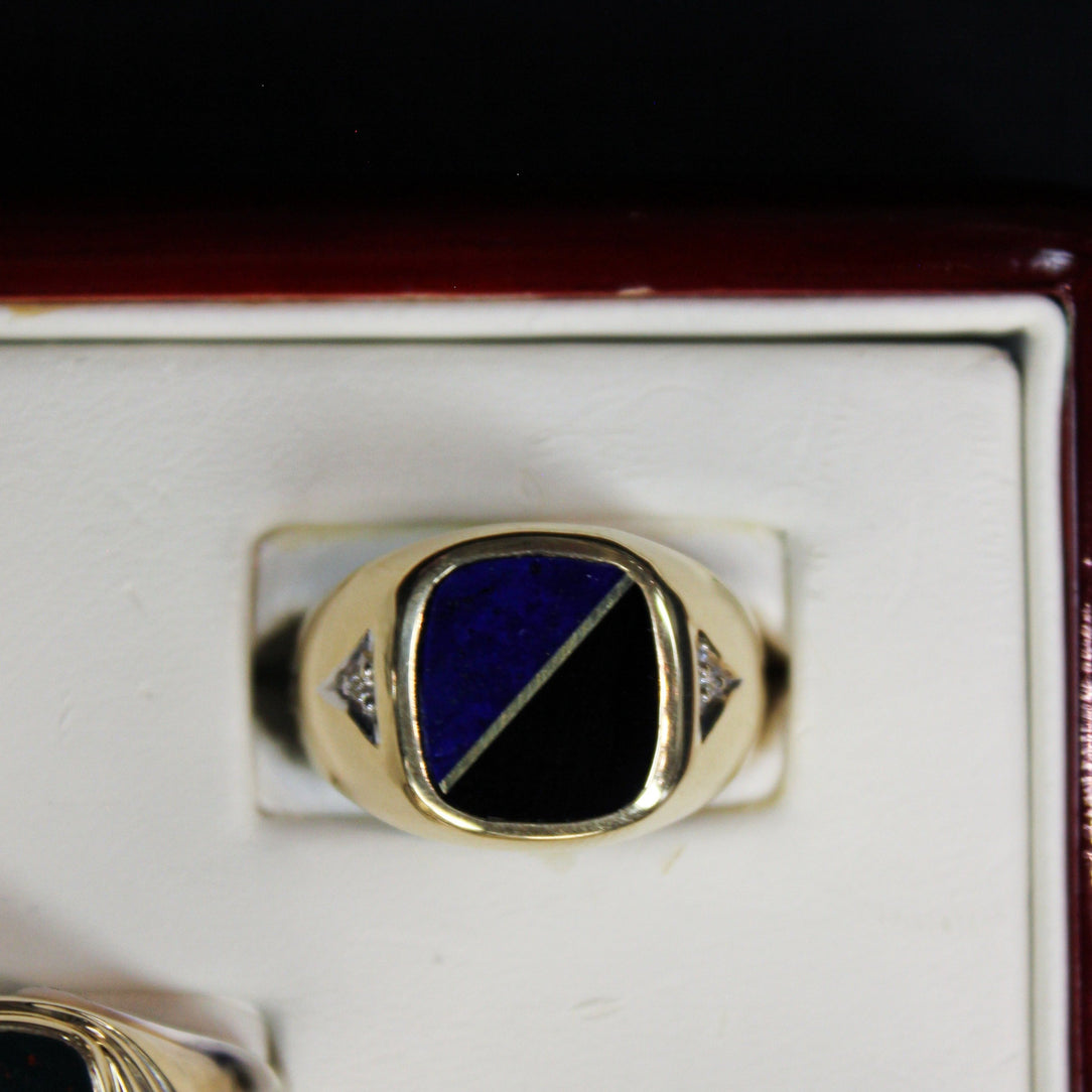 Gold Signet onyx and sapphire flat stone Enamel Ring 10kt yellow gold - Sugold Jewellers & Giftware
