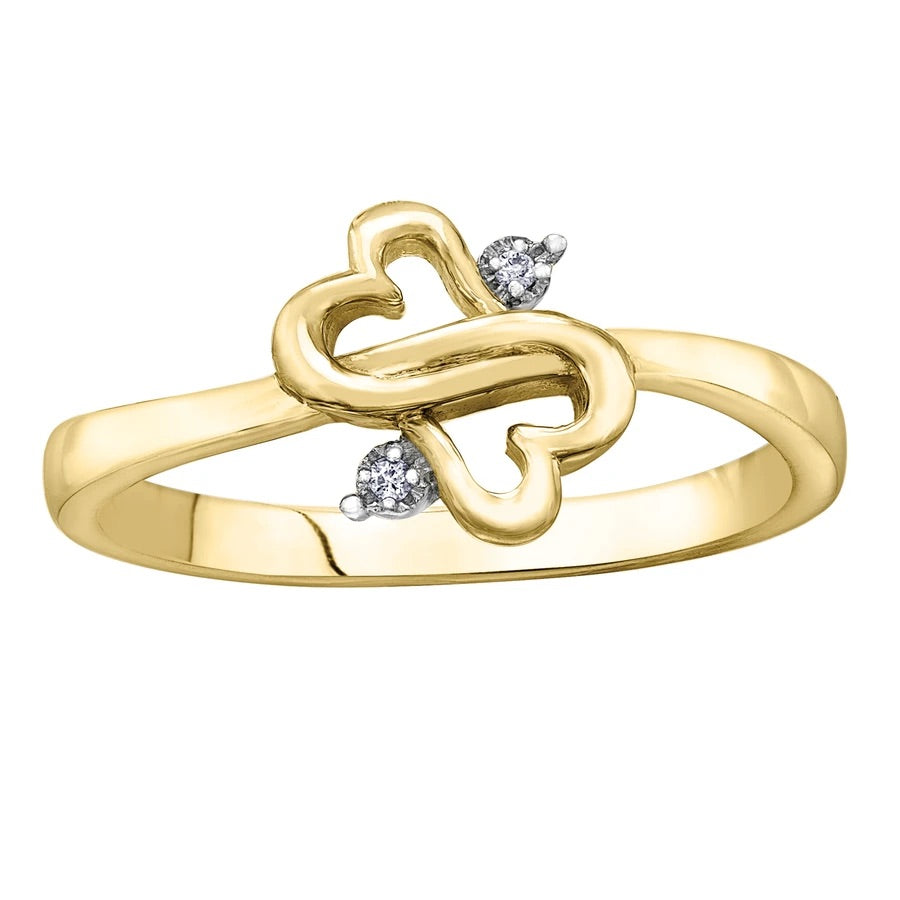 Intertwined Hearts 10kt Yellow Gold Ring
