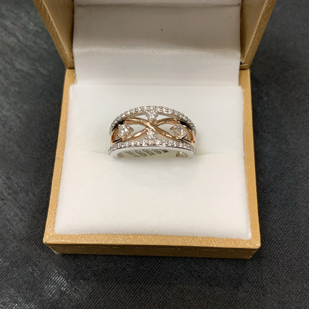 14kt Rose and White Gold Multi Diamond Ring - Sugold Jewellers & Giftware