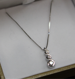 Spiralling Teardrop Pendant | White Gold - Sugold Jewellers & Giftware