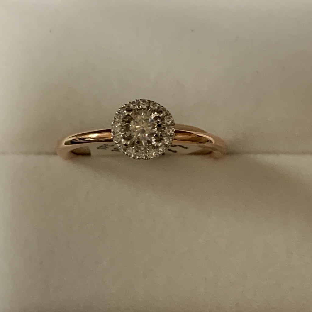 Rose gold 10kt halo diamond ring - Sugold Jewellers & Giftware