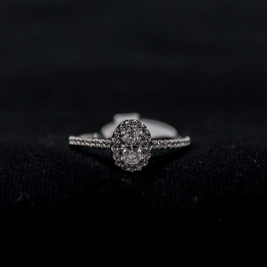 Oval Cut Diamond Halo Ring | 14kt white gold Canadian diamonds - Sugold Jewellers & Giftware