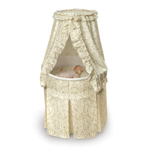 Empress Round Baby Bassinet with Canopy Ecru and Leaf Print Bedding