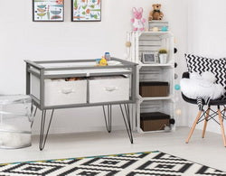 Gray Convertible Changing Table with 2 baskets