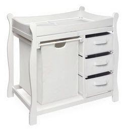 Sleigh Style Baby Changing Table in white